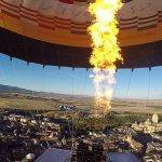 Hot air balloons fly thanks to the heat generated in the burners that is produced by the combustion of propane