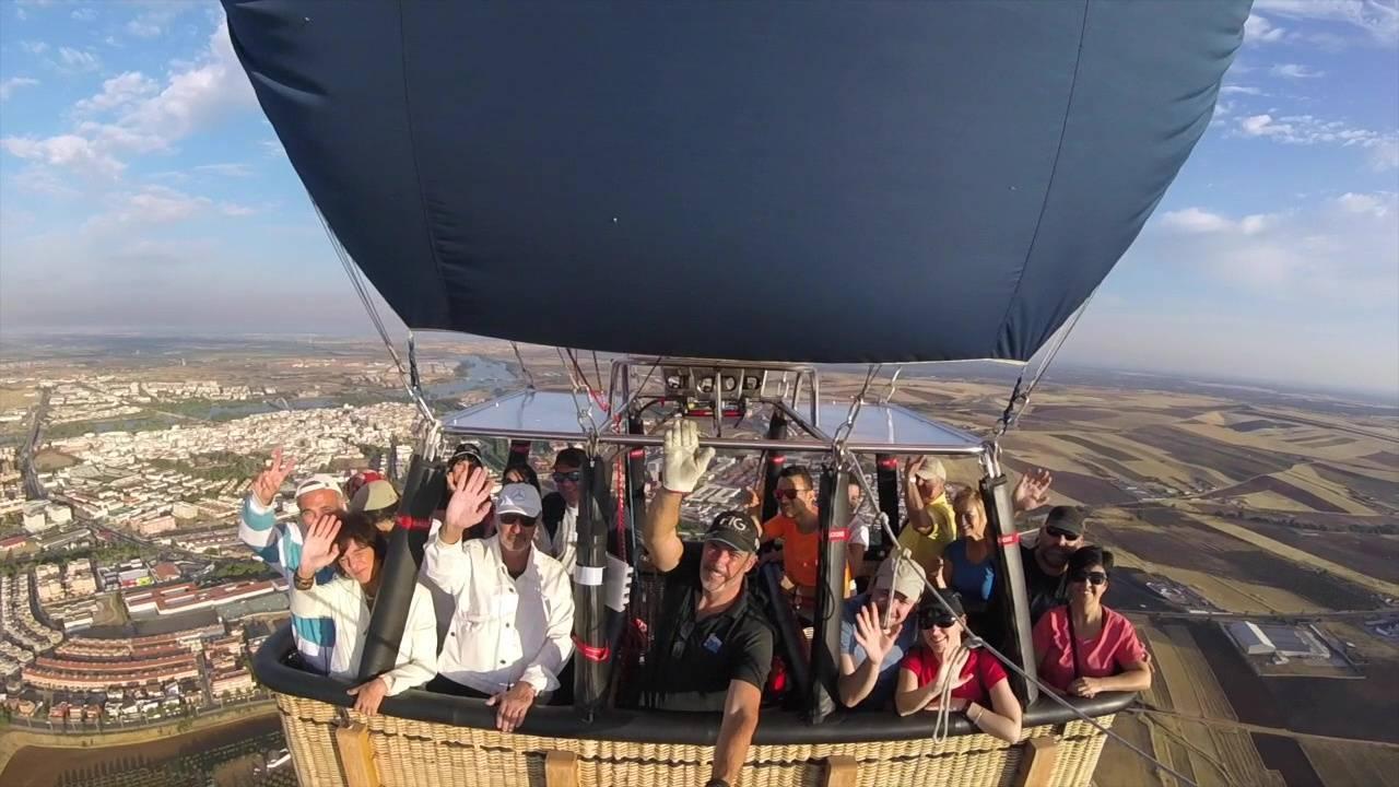 pasajeros de un globo