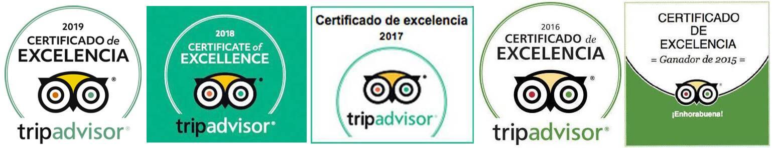 Certificado de Excelencia en TripAdvisor
