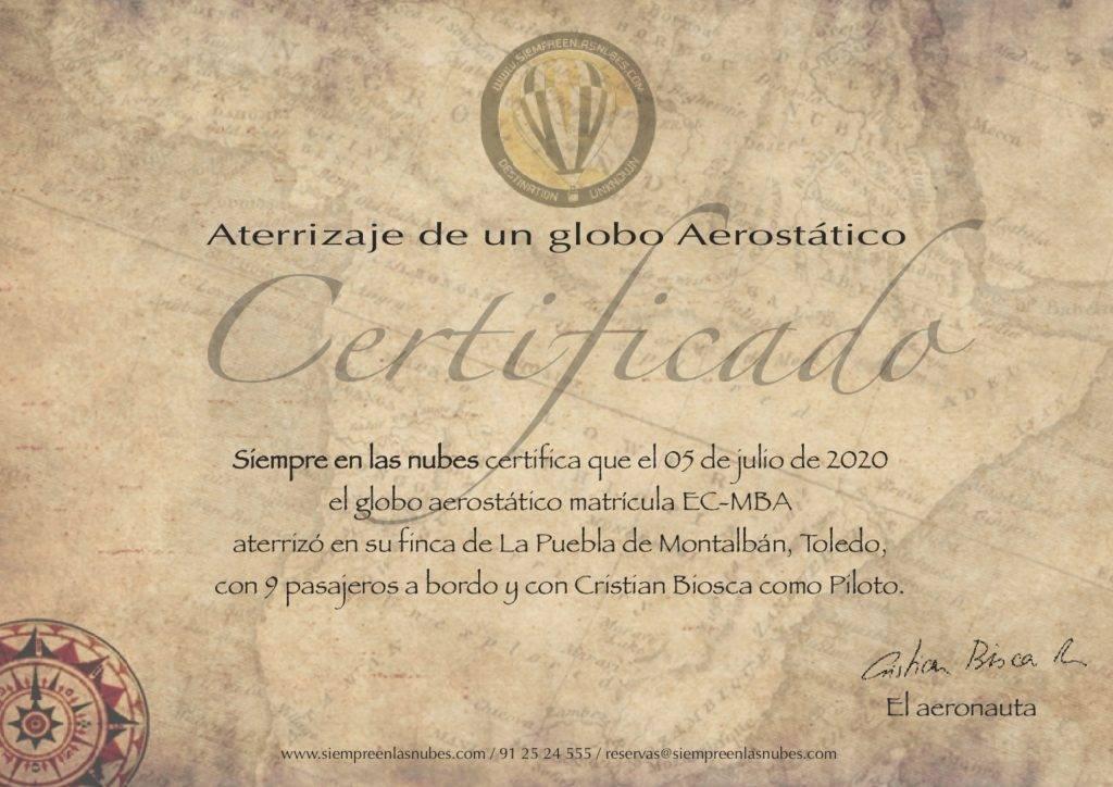 Certificado de aterrizaje de un globo aerostático.